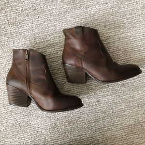 Chocolate Leather Booties Altar'd State Size 6